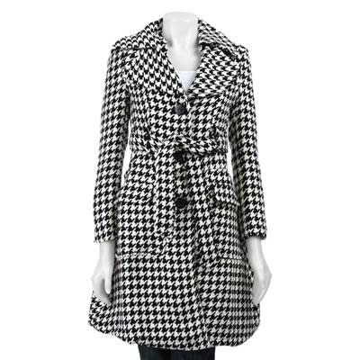 Last Kiss Women's Houndstooth Long Coat