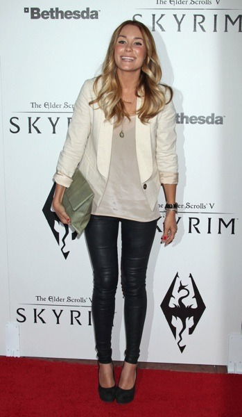 Lauren Conrad with green clutch