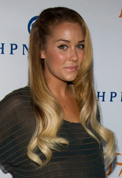 Lauren Conrad with shiny lip gloss