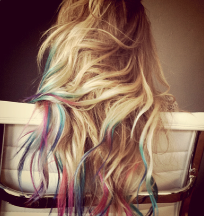 Lauren Conrad dyed her tips rainbow colors as fans suggested on her beauty blog.
