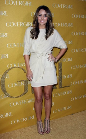 Lauren Conrad dons her newly-dark hair at this event.