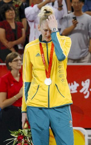 Lauren Jackson with a Silver Medal