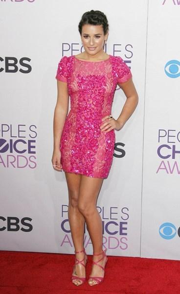 Lea Michele neon dress