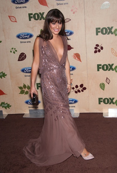 Lea Michele in a chiffon gown