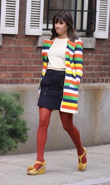 Lea Michele in a cardigan