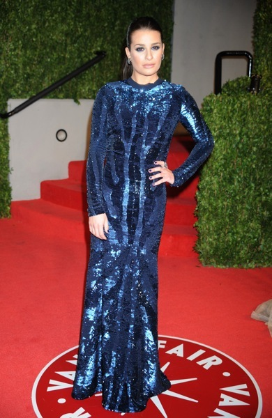 Lea Michele in a sequined gown