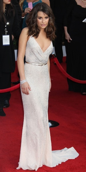 Lea Michele in a white gown