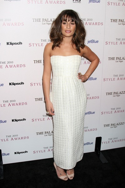 Lea Michele in a tea length gown