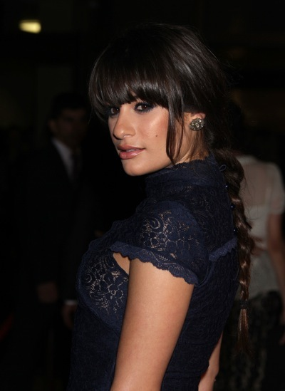 Lea Michele with heavy bangs