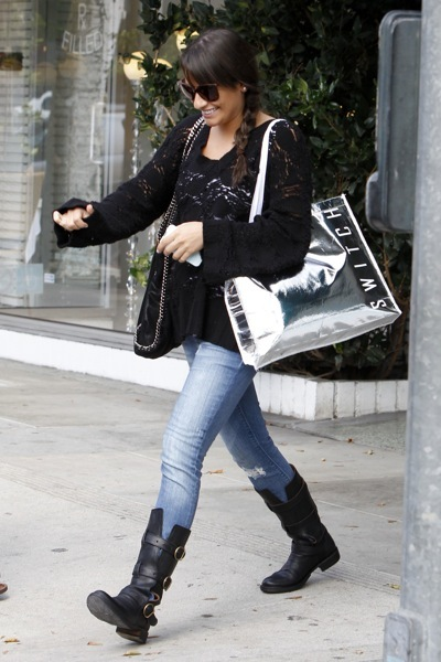 Lea Michele in biker boots