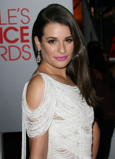 Lea Michele with pink lips