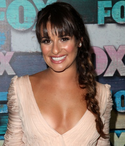 lea michele with a side braid