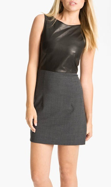 Leather and wool dress