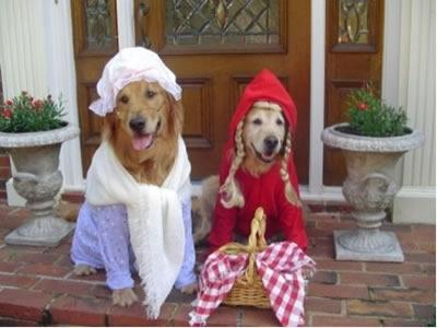 Little Red Riding Hood and Grandmother dogs