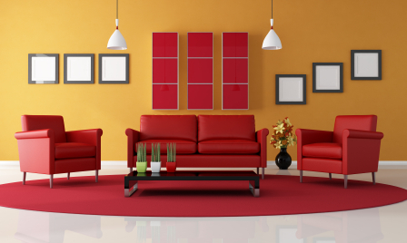 Red living room sofas - Red, yellow & orange themes