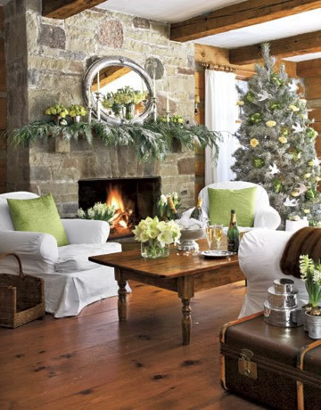 Green accents in white living room