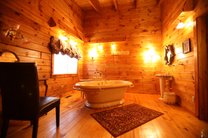 Log Cabin Bathroom - Country Homes