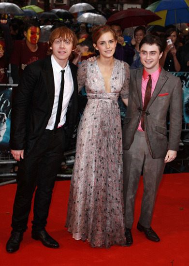 Rupert Grint, Emma Watson and Daniel Radcliffe at the Harry Potter and the Half Blood Prince world premiere