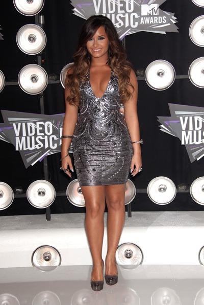 Demi Lovato in grey mini dress