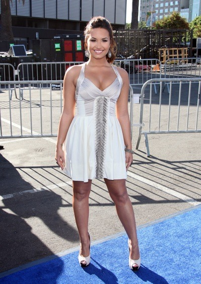 Demi Lovato in white dress