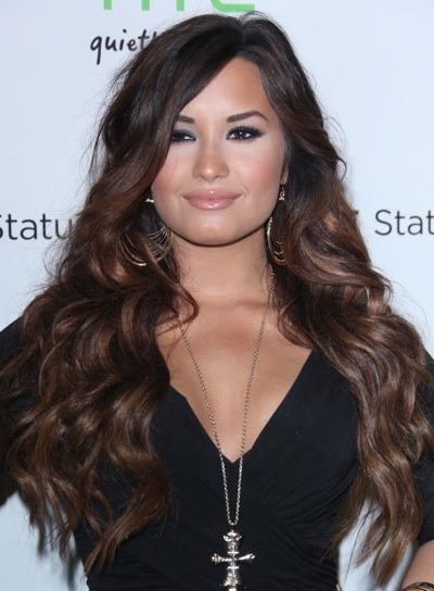 Demi Lovato with hoop earrings