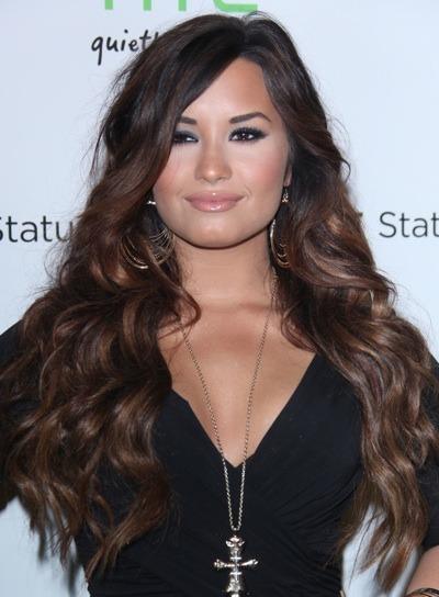 Demi Lovato with hoop earrings