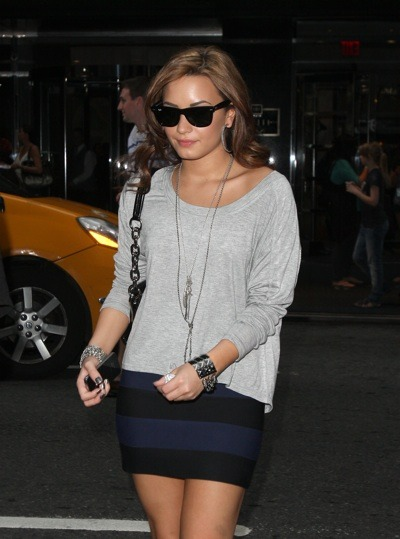 Demi Lovato in stripes