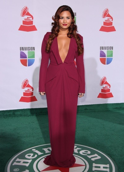 Demi Lovato in burgundy