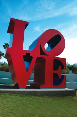 The Robert Indiana LOVE sculpture in downtown Scottsdale