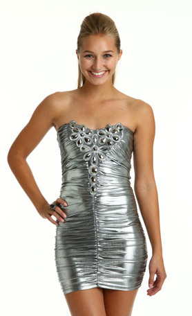 Rhinestone ruched dress