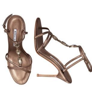 Manolo Blahnik Jeweled T-Strap Sandals