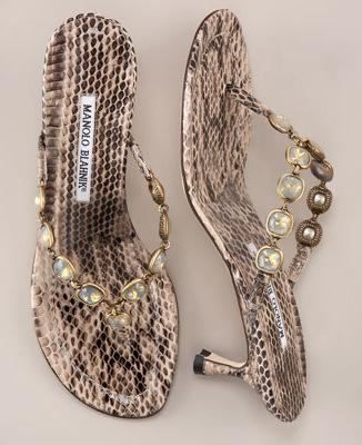 Manolo Blahnik Snakeskin Thong Sandals
