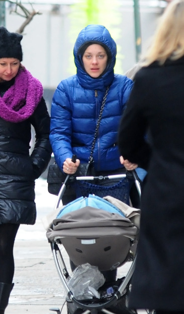 Marion Cotillard pushing a baby carriage in Manhattan, NYC