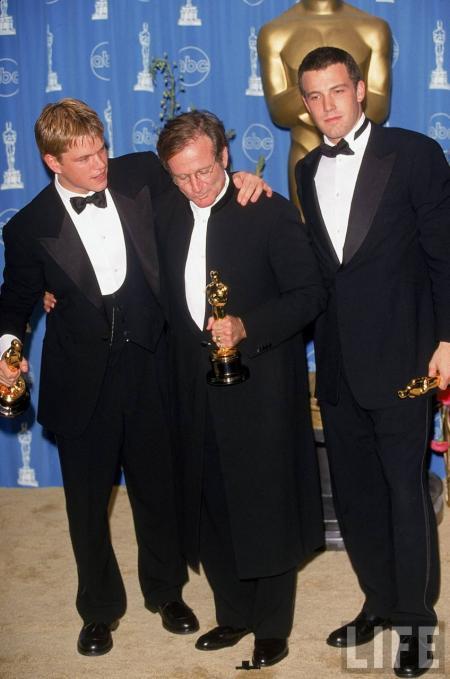 Matt Damon, Robin Williams and Ben Affleck at the Oscars