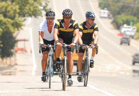Matthew McConaughey and Lance Armstrong bike in Malibu