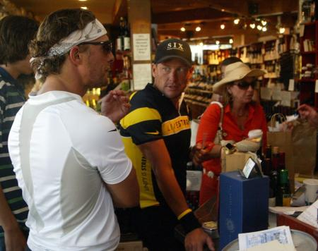 Matthew McConaughey and Lance Armstrong in a wine shop