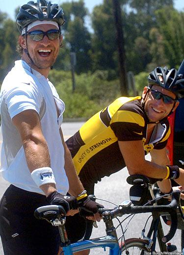Matthew McConaughey and Lance Armstrong laugh