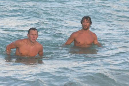 Matthew McConaughey and Lance Armstrong swimming