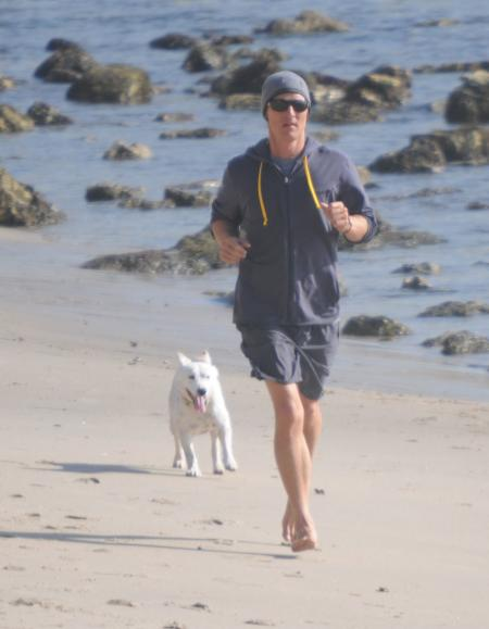 Matthew McConaughey jogs with his dog