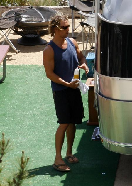 Matthew McConaughey at his Malibu trailer