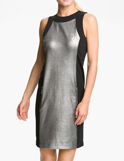Metallic panel sheath dress