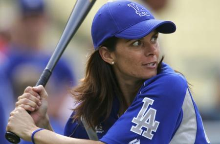 Mia Hamm at a Celebrity Baseball Game