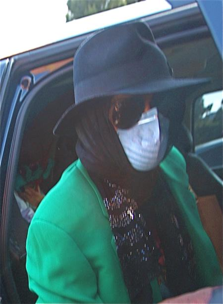 Michael Jackson wearing a mask