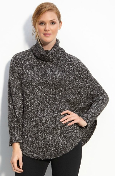 Knit Turtleneck Fitted-Sleeve Poncho