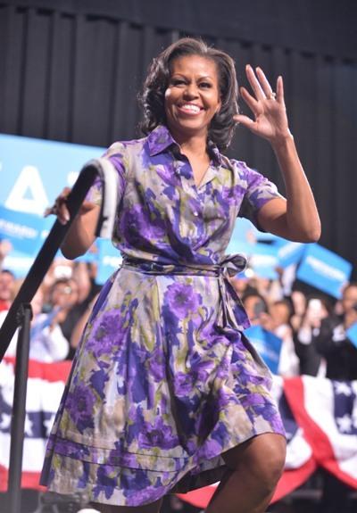 Michelle Obama pretty in purple