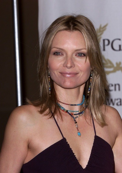 Michelle Pfeiffer with turqouise accessories