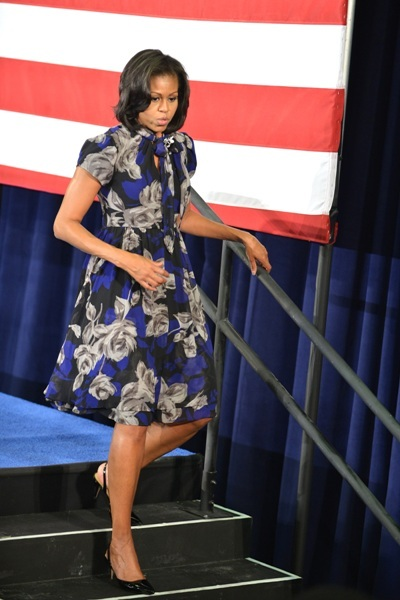 Michelle Obama blue and silver