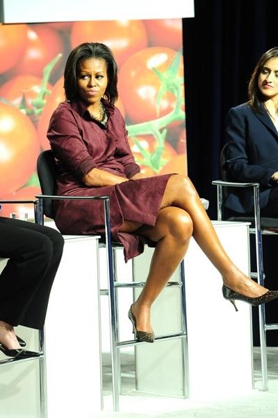 Michelle Obama in burgundy