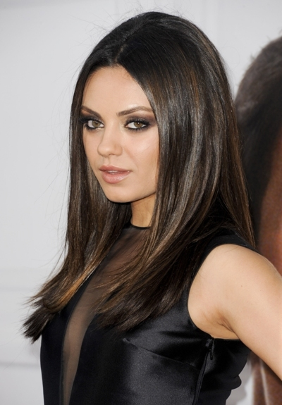 Mila Kunis with sleek hair
