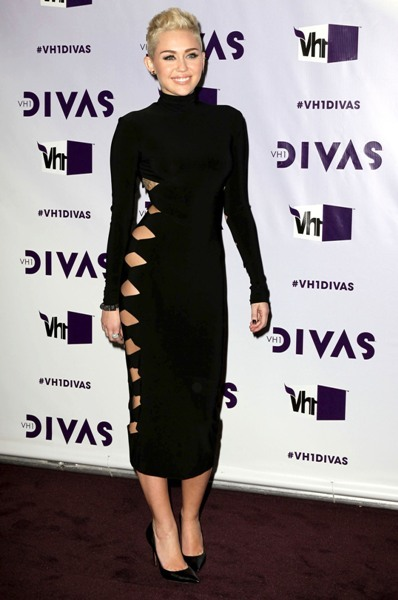 Miley Cyrus in cut out dress